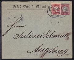 Privatumschlag (Jakob Volleth, Nürnberg) Wappen 10 Pfg. Mit Zusatzfrankatur  - Bavaria
