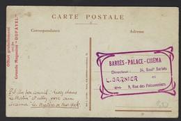 "PARIS * ARR 18 "" BARBES- PALACE-CINEMA "" * L. GARNIER * RUE DES POISSONNIERS *  MAGASINS "" DUFAYEL "" * MISS PEARL WHITE - Werbetrailer"