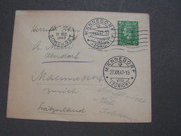 GB Cv. Nach Zürich Männerdorf  SUPER Stempel Ankunft 1947 - Briefe U. Dokumente