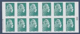 = Marianne L'Engagée Carnet Type Timbre 1598 Lettre Verte X12 Numéroté 0303479 à Gauche 022 Droite Pour La Fin D'année - Carnets