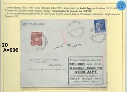 Lettre Par Avion De Istres Pour Djibouti 1937 (20A) - Lettres & Documents