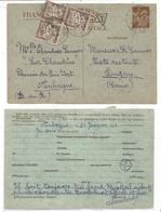 ENTIER 90C IRIS CARTE AUBAGNE 1941 POUR DUGNY SEINE TAXE 10CX3 POSTE RESTANTE - Entiers Postaux