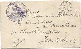 LOIR ET CHER LETTRE ROMORANTIN 1916 + CACHET VIOLET INFIMERI DES 39E ET 40E REGINts D'INFANTERIE - Marcophilie (Lettres)