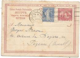 SEMEUSE 40C BLEU SUR ENTIER REPONSE 20M EGYPTE MEC FLIER PARIS 27.II.1932 POUR HERAULT - Postal Stamped Stationery