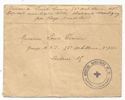 LETTRE FM CLOYES EURE ET LOIR CACHET VIOLET HOPITAL AUXILIAIRE N°21 - Marcophilie (Lettres)