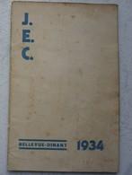 Plaquette Journée D'étude Générales DINANT BELLEVUE 1934 ACJB Jeunesse Estudiantine Catholique JEC - Alte Papiere