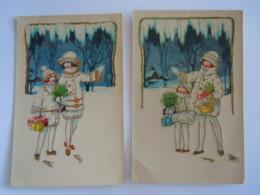 Illustration 2 Cartes Glacées Personages Dans La Neige Mensen In De Sneeuw SB 7104 - Illustrateurs & Photographes