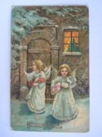 Heureux Noël Anges Avec Cadeaux Engelen Geschenken Gouddruk Dorée Edit E M.S.i.B. Gelopen Circulée 1911 - Noël