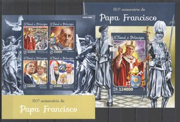ST1587 2016 S. TOME E PRINCIPE FAMOUS PEOPLE POPE FRANCISCO RELIGION 1KB+1BL MNH - Popes