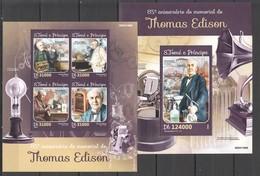ST1591 2016 S. TOME E PRINCIPE FAMOUS PEOPLE THOMAS EDISON 1KB+1BL MNH - Physique