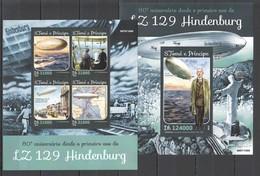 ST1595 2016 S. TOME E PRINCIPE TRANSPORT AVIATION ZEPPELINS HINDENBURG 1KB+1BL MNH - Zeppelins