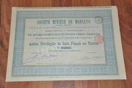 Société Minière De Moncayo - Espagne  - Bruxelles 1899 - Action Privilégiée De 100 Francs. - Mijnen
