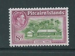Pitcairn Islands 1940 - 1951 KGVI Definitives Later Issued 8d MVLH - Pitcairn Islands
