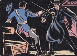 """Carte """"VELOURS / FLUO """" 10x15 . ZORRO (W. Disney) - Autres"""