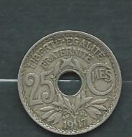 France - Troisième République - 25 Centimes 1917 Lindauer Laupi 11607 - Frankreich