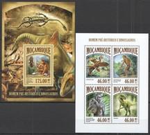 ST2495 2013 MOZAMBIQUE MOCAMBIQUE FAUNA REPTILES PREHISTORIC HUMANS & DINOSAURS KB+BL MNH - Postzegels