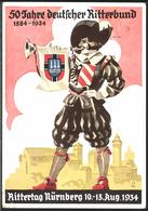 """Anlass-Karte """"Rittertag Nürnberg 1934 , 50 Jahre Dt.Ritterbund"""" , Gelaufen, SELTEN !! - Germany"""