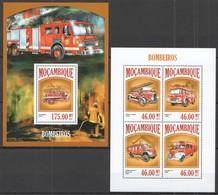 ST2510 2013 MOZAMBIQUE MOCAMBIQUE TRANSPORT CARS AUTOMOBILES FIRE TRUCKS BOMBEIROS KB+BL MNH - Vrachtwagens