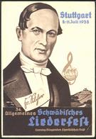 """Anlass-Karte """"Schwäbisches Liederfest Zu Stuttgart 1938"""" , Gelaufen, SELTEN !! - Germany"""