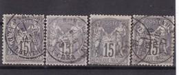 # Z.10870 France Republic 1876 - 78 Type II. 4 X Value 15c. Used, Yvert 77, Michel 61 II: Pax & Mercur - 1876-1898 Sage (Tipo II)