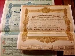 LA  PERLE  ( Manufacture Lyonnaise De Couronnes & Articles Funéraires ) ------ Deux  Actions  De  100 Frs - Industrie