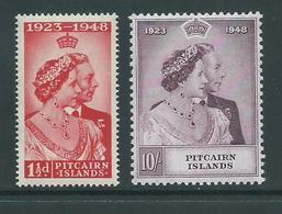 Pitcairn Islands 1949 Royal Silver Wedding Set 2 Fine MLH - Pitcairn Islands