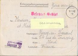 GUERRE 39-45 COR.PRISONNIER DE GUERRE Français Stalag XII A /39 Limburg An Der Lahn – Rédigé Le 13-9-1942 - Guerra De 1939-45