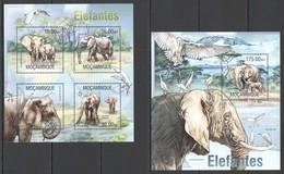 ST2544 2013 MOZAMBIQUE MOCAMBIQUE FAUNA WILD ANIMALS ELEPHANTS ELEFANTES KB+BL MNH - Elephants