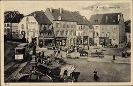 Cp Saint Avold Moselle, Marktplatz, Geschäft Victor Loew, Straßenbahn - Frankreich