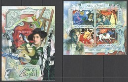 ST2589 2013 MOZAMBIQUE MOCAMBIQUE ART PAINTINGS 125TH ANNIVERSARY MARC CHAGALL KB+BL MNH - Andere