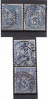 # Z.10871 France Republic 1876 - 78 Type II. 4 X Value 25c. Used, Yvert 79, Michel 63 II.a,b: Pax & Mercur - 1876-1898 Sage (Tipo II)