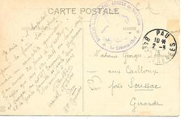 64-cachet Hôpital Mixte De Pau-Annexe De Noulibos Sur CP En 1915 - Marcofilie (Brieven)