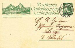 """Schweiz Suisse 1923: Bild-PK / CPI """"BRUNNEN Vierwaldstättersee"""" Mit O BALLWIL 1.X.23 (LUZERN)  Nach Agarn (Wallis) - Interi Postali"""