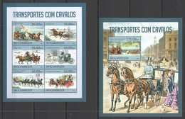 ST2622 2013 MOZAMBIQUE MOCAMBIQUE FAUNA HORSES TRANSPORT TRANSPORTES COM CAVALOS KB+BL MNH - Horses