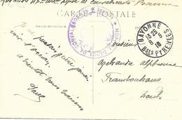 64-cachet Hôpital Dépot De Convalescents De Bayonne Sur CP De Biarritz En 1916 - Oorlog 1914-18
