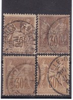 # Z.10872 France Republic 1876 - 78 Type II. 4 X Value 30c. Used, Yvert 80, Michel 64 II: Pax & Mercur - 1876-1898 Sage (Type II)