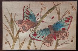 CARTE POSTALE BOIS Peinte à La Main: PAPILLON, PAPILLONS, BUTTERFLIE, MARIPOSA - Butterflies