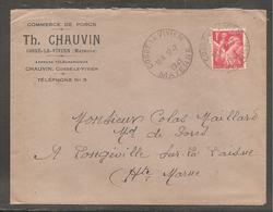 Enveloppe Avec 1 Fr  Iris  Oblit   COSSE LE VIVIEN   MAYENNE   1941  /commerce De Porcs - 1939-44 Iris