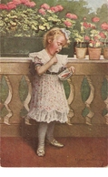 """""""A. Von Riesen. Little Girl. Slikmunden"""" Fine Painting, Vintage German Postcard - Niños"""