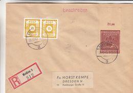 Allemagne - Occupation Alliés - Lettre Recom De 1945 - Oblit Meissen - Exp Vers Dresden - Avec Timbre Wiederaufbau -rare - Zona Sovietica