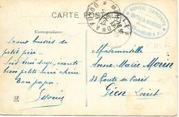 64-cachet Hôpital Temp Château De Mosqueros à Salies-de-Béarn (N° 113 Bis) Sur Belle CP Des Salines En 1915 - Storia Postale