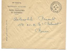 ROUEN Timbre à Date Manuel De La DIRECTION RÉGIONALE DES P.T.T 20 Novembre 1934 - Cachets Manuels
