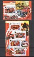 ST187 2015 GUINEE GUINEA TRANSPORT FIRE TRUCK VEHICULES DE POMPIERS KB+BL MNH - Vrachtwagens