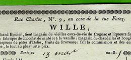 VIE PARISIENNE 1815 SUPERBE FACTURE Signé MARCHAND EPICIER à Paris  MARAIS Rue Charlot   Belle Impression V.SCANS - 1800 – 1899