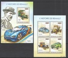 ST216 2015 GUINEE GUINEA TRANSPORT CARS HISTORY OF RENAULT KB+BL MNH - Cars
