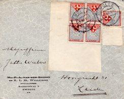 7 XII 1926 Envelop Met Logo Van Zwolle Naar Leiden Met NVPH 199 Hoekstuk Van 4 En 1 Los - Lettres & Documents