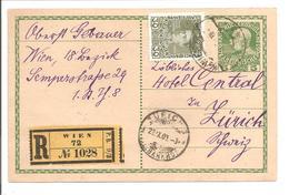 Österreich Ganzsache Pkt. 5H 1908 EINSCHREIBEN ZF 30H Franz Josef Mi 148 Wien>Zürich - Ganzsachen