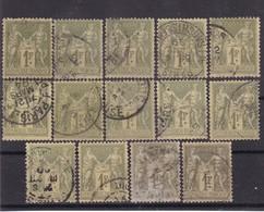 # Z.10875 France Republic 1876 - 78 Type II. 14 X Value 1 Fr. Used, Yvert 82, Michel 67 II: Pax & Mercur - 1876-1898 Sage (Tipo II)