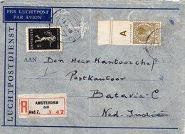 16 1. 1940  Aangetekende Luchtpostbrief Van Amsterdam Naar Batavia Met NVPH 327 En Roltanding68 - Lettres & Documents