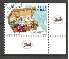 ITALIA - 2004 EUROPA Le Vacanze 1 Solo Val. - Francobollo D'angolo Con 2 Bandelle - 6. 1946-.. Republic